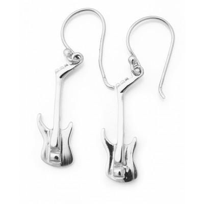 Κρεμαστά σκουλαρίκια κιθάρες σε ασημί χρώμα από Ασήμι 925