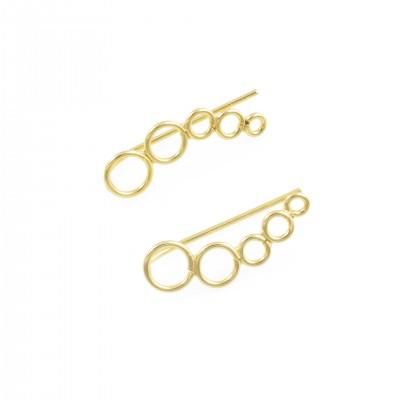 Επίχρυσο earline με κύκλους από Ασήμι 925