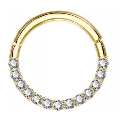 Segment Ring Piercing Clicker - Χρυσό κρικάκι μεντεσέ με zircon πέτρες από Χειρουργικό Ατσάλι