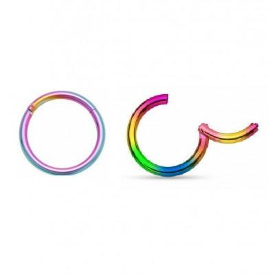 Segment Ring Piercing Clicker - Rainbow κρικάκι μεντεσέ από Χειρουργικό Ατσάλι