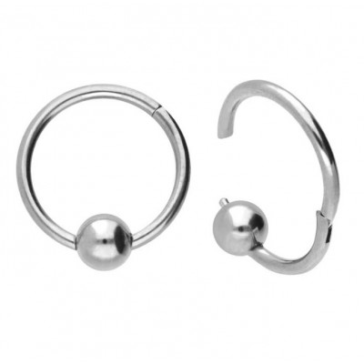 Segment Ring Piercing Clicker - Ασημί κρικάκι μεντεσέ με μπίλια από Χειρουργικό Ατσάλι