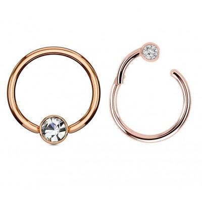 Segment Ring Piercing Clicker - Ροζ χρυσό κρικάκι μεντεσέ με μπίλια στρας από Χειρουργικό Ατσάλι