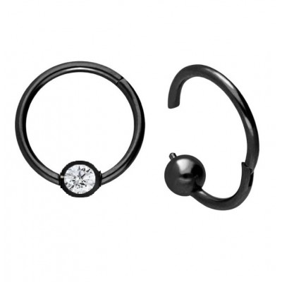 Segment Ring Piercing Clicker - Μαύρο κρικάκι μεντεσέ με μπίλια στρας από Χειρουργικό Ατσάλι