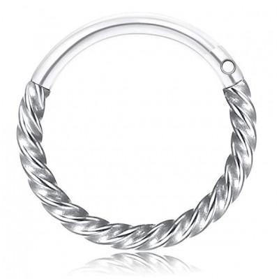 Segment Ring Piercing Clicker - Ασημί στριφτό κρικάκι μεντεσέ από Χειρουργικό Ατσάλι