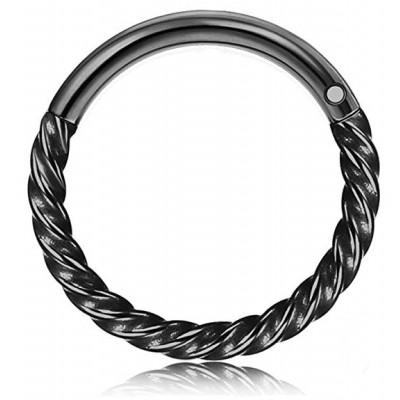 Segment Ring Piercing Clicker - Μαύρο στριφτό κρικάκι μεντεσέ από Χειρουργικό Ατσάλι