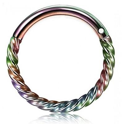 Segment Ring Piercing Clicker - Rainbow στριφτό κρικάκι μεντεσέ από Χειρουργικό Ατσάλι