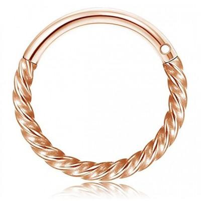 Segment Ring Piercing Clicker - Ροζ χρυσό στριφτό κρικάκι μεντεσέ από Χειρουργικό Ατσάλι
