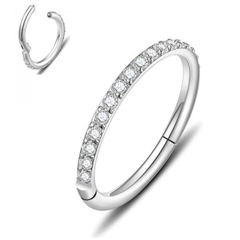 Segment Ring Piercing Clicker - Ασημί κρικάκι μεντεσέ με zircon πέτρες από Χειρουργικό Ατσάλι