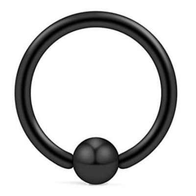 Piercing κρίκος με μπίλια σε μαύρο χρώμα από Χειρουργικό Ατσάλι