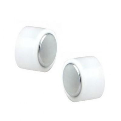 """Μαγνητικά ακρυλικά σκουλαρίκια """"Τάπες"""" σε λευκό χρώμα"""