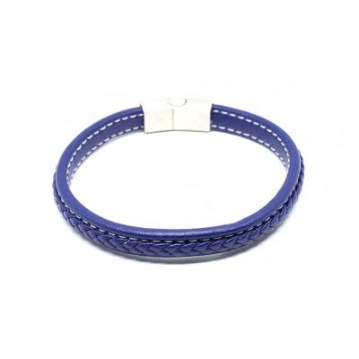 Βραχιόλι πλεξούδα με μαγνητικό κούμπωμα σε μπλε χρώμα από δερματίνη και Ανοξείδωτο Ατσάλι