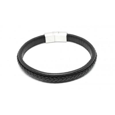 Βραχιόλι πλεξούδα με μαγνητικό κούμπωμα σε μαύρο χρώμα από δερματίνη και Ανοξείδωτο Ατσάλι