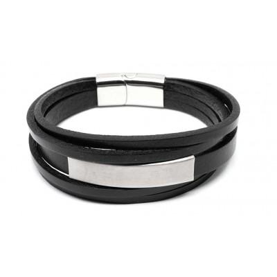 Βραχιόλι με ταυτότητα και μαγνητικό κούμπωμα σε μαύρο χρώμα από δερματίνη και Ανοξείδωτο Ατσάλι