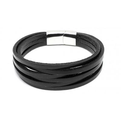 Βραχιόλι με μαγνητικό κούμπωμα σε μαύρο χρώμα από δερματίνη και Ανοξείδωτο Ατσάλι