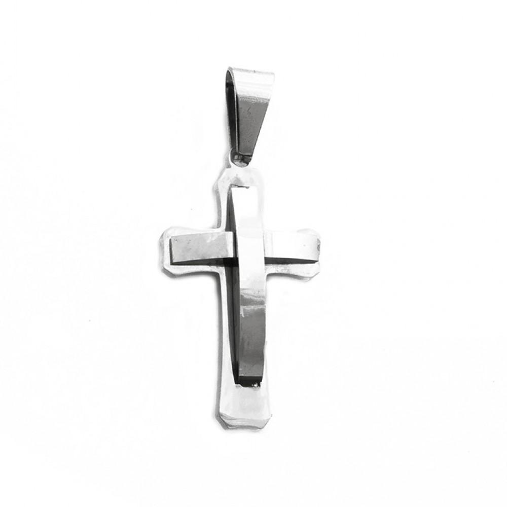 Μενταγιόν σκαλιστός σταυρός σε ασημί χρώμα από Ανοξείδωτο Ατσάλι