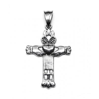 Μενταγιόν σταυρός Claddagh σε ασημί χρώμα από Ανοξείδωτο Ατσάλι