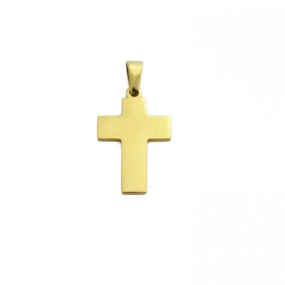 Μενταγιόν μικρός γυαλιστερός σταυρός σε χρυσό χρώμα από Ανοξείδωτο Ατσάλι