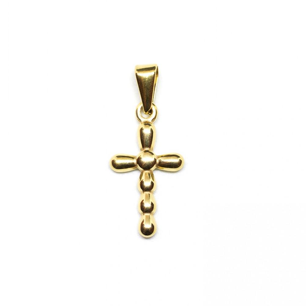 Μενταγιόν ανάγλυφος σταυρός σε χρυσό χρώμα από Ανοξείδωτο Ατσάλι