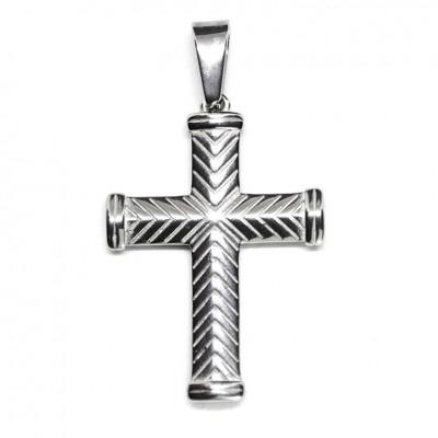 Μενταγιόν ανάγλυφος σταυρός σε ασημί χρώμα από Ανοξείδωτο Ατσάλι