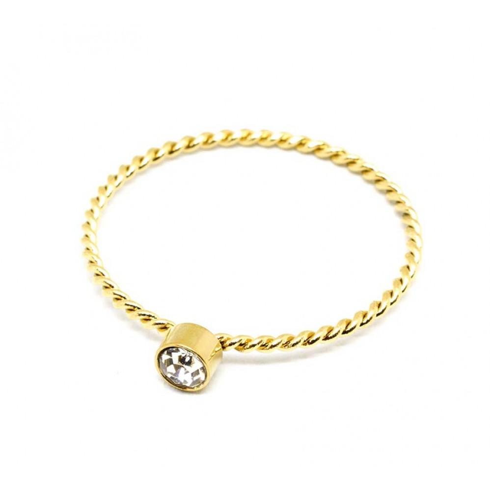 Μονόπετρο δαχτυλίδι πλεξούδα με λευκό στρας σε χρυσό χρώμα από Ανοξείδωτο Ατσάλι