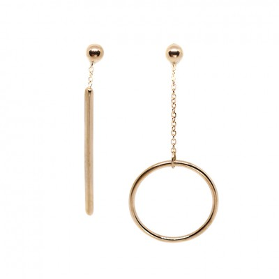 Κρεμαστά σκουλαρίκια σε ροζ χρυσό χρώμα από Χειρουργικό Ατσάλι