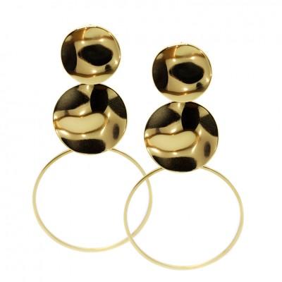 Μακριά κρεμαστά σκουλαρίκια με κρίκο σε χρυσό χρώμα από Χειρουργικό Ατσάλι