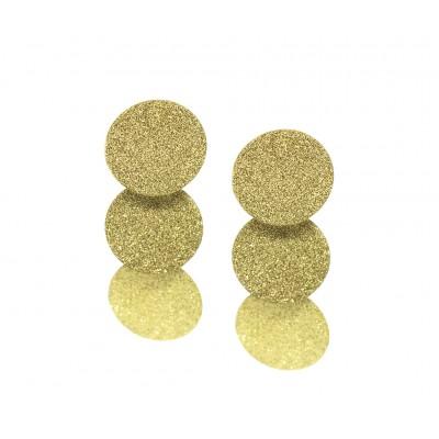 Κρεμαστά σκουλαρίκια με εφέ χρυσόσκονη σε χρυσό χρώμα από Χειρουργικό Ατσάλι