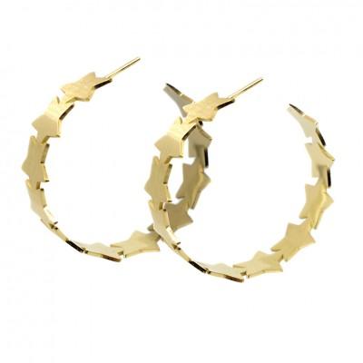 Κρίκοι με αστέρια σε χρυσό χρώμα από Χειρουργικό Ατσάλι